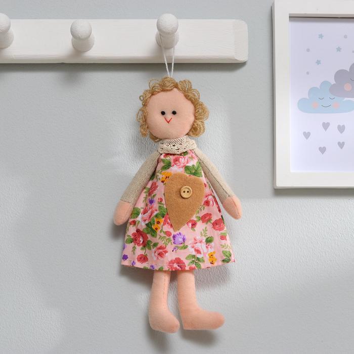 Мягкая игрушка-подвеска «Маруся», кукла в платье в цветочек, цвета МИКС