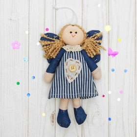 Подвеска «Ангелочек», кукла, на платье сердце с пуговкой, цвета МИКС