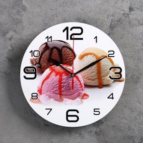 """Часы настенные круглые """"Мороженое"""", 24 см  микс"""