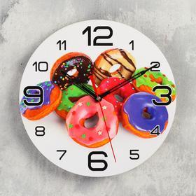 """Часы настенные круглые """"Пончики"""", 24 см  микс"""