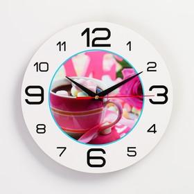 """Часы настенные, серия: Кухня, """"Кофе с пастилой"""", 24 см , стрелки микс"""