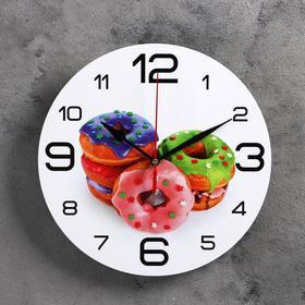 """Часы настенные, серия: Кухня, """"Пончики"""", 24  см, микс"""
