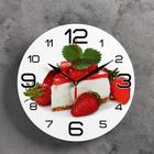 """Wall clock, series: the Kitchen """"Cake with strawberries"""", 24 cm, mix"""