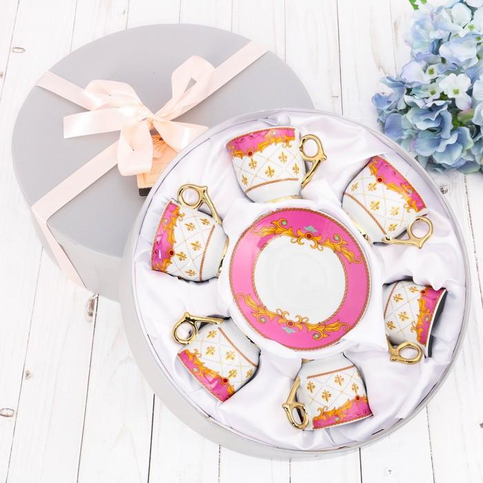 Сервиз «Розовый», 12 предметов: кружка 80 мл, блюдце Ø 11 см - фото 797996077
