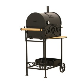 Угольно-древесное барбекю с крышкой, на колёсах
