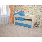 Кровать двухъярусная выкатная Матрешка 800х1600 с ящиком Синий/млечный дуб