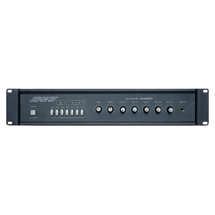 Микшер-усилитель ABK PA-2006PIV 2 микрофонных, 3AUX входа, 1 AUX выход, 70/100В, 60Вт