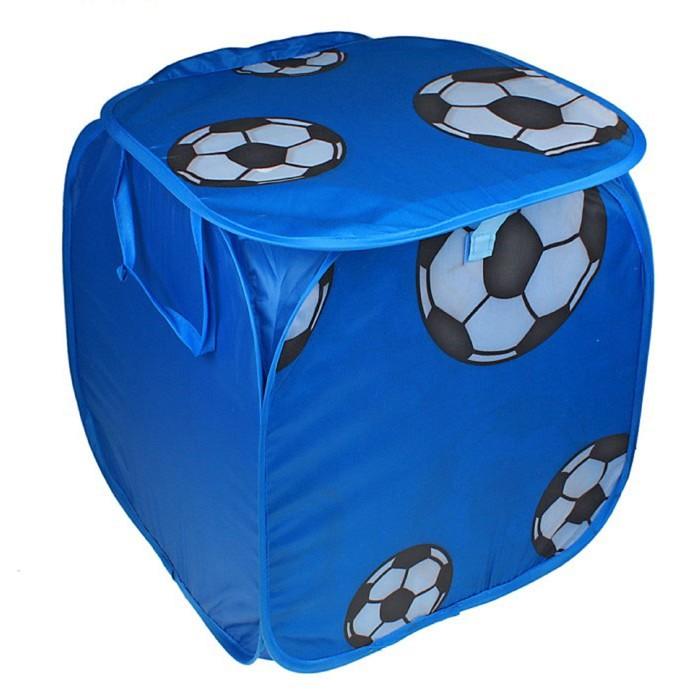 """Корзина для игрушек """"Футбол"""" с ручками и крышкой, цвет синий"""