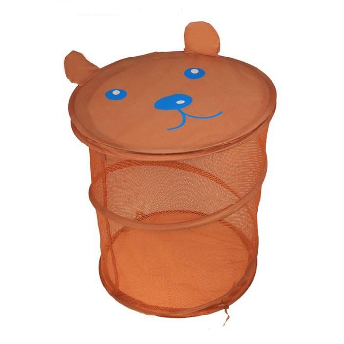 """Корзина для игрушек """"Мишка"""" с крышкой-мордашкой, цвет коричневый"""