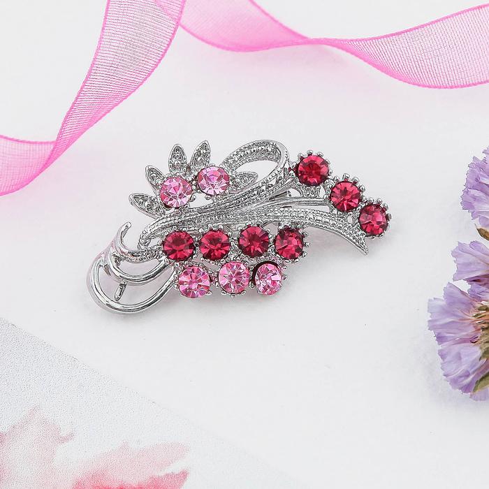 """Брошь """"Ветвь"""", цвет розовый в серебре"""
