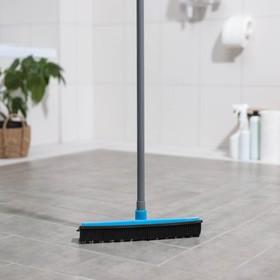 Щётка для пола резиновая Долна, телескопическая ручка 70-120 см, цвет МИКС - фото 4646281