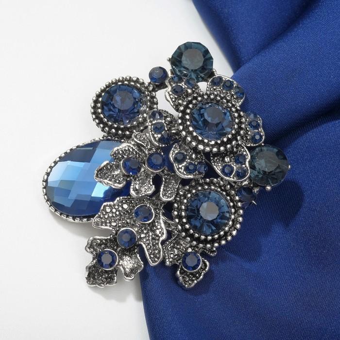 """Брошь """"Космос"""", цвет синий в чернёном серебре"""