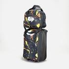 """Чемодан малый с сумкой """"Вспышки"""", отдел на молнии, наружный карман, цвет чёрный"""