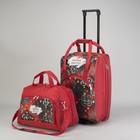 Чемодан малый с сумкой, отдел на молнии, наружный карман, принт узоры