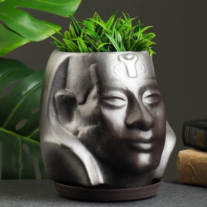 """Фигурное кашпо """"Аминхатеп"""", 17×15 см, черный - фото 815180"""