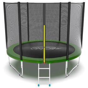 Батут EVO JUMP External 8 ft, d=244 см, с внешней защитной сеткой и лестницей, зелёный