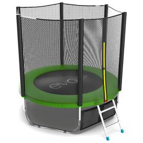 Батут EVO JUMP External 6 ft, d=183 см, с внешней сеткой и лестницей, зелёный