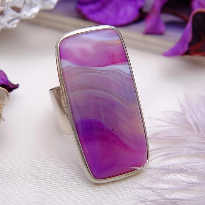 """Кольцо безразмерное """"Агат"""" прямоугольник, цвет светло-фиолетовый"""