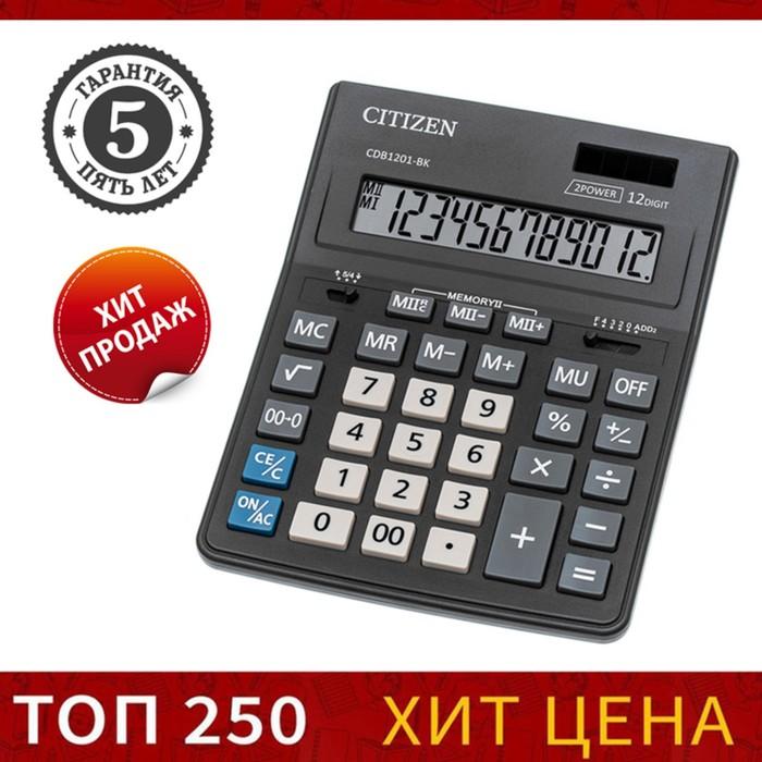 Калькулятор настольный 12-разрядный CDB1201BK, 155х205х28 мм, двойное питание, чёрный