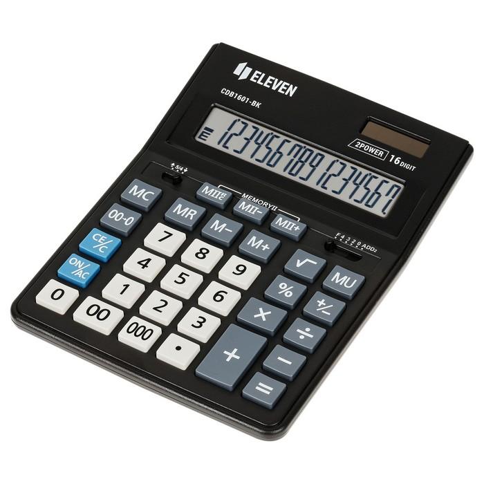 Калькулятор настольный 16-разрядный CDB1601BK 157х200х35 мм, двойное питание, чёрный - фото 509605168