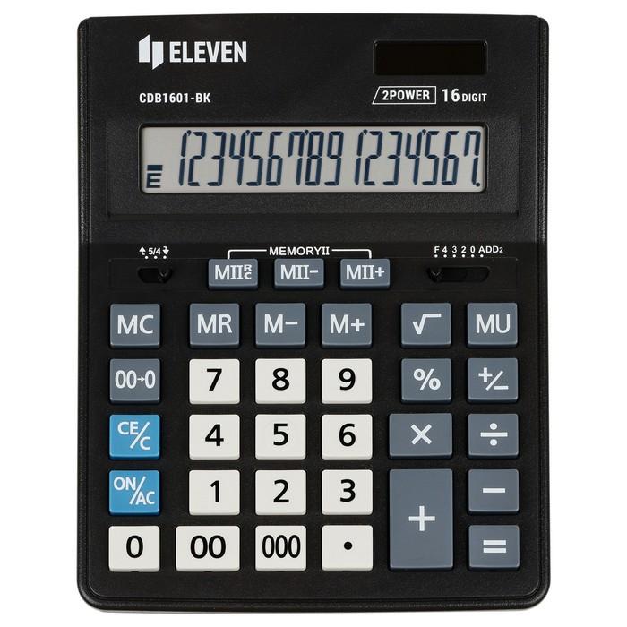 Калькулятор настольный 16-разрядный CDB1601BK 157х200х35 мм, двойное питание, чёрный - фото 509605169