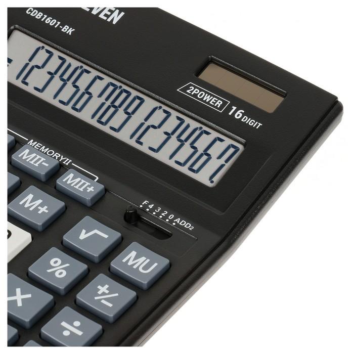 Калькулятор настольный 16-разрядный CDB1601BK 157х200х35 мм, двойное питание, чёрный - фото 509605171