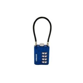 """Замок навесной """"АЛЛЮР"""" ВС1КТ-30/3 (H2), кодовый, с тросиком, d=3 мм, синий"""
