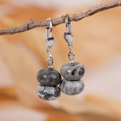 "Earrings beads ""agate white"""