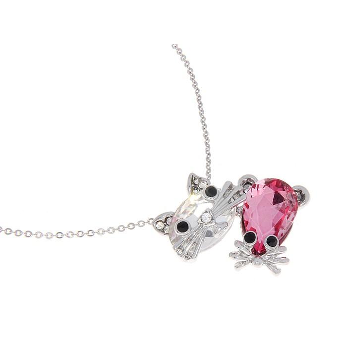 """Кулон """"Кошка с мышкой"""", цвет бело-розовый, 45см"""