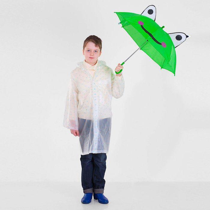 """Зонт детский """"Лягушка-квакушка"""", полуавтоматический, со свистком, с глазками, r=38,5см, цвет зелёный"""