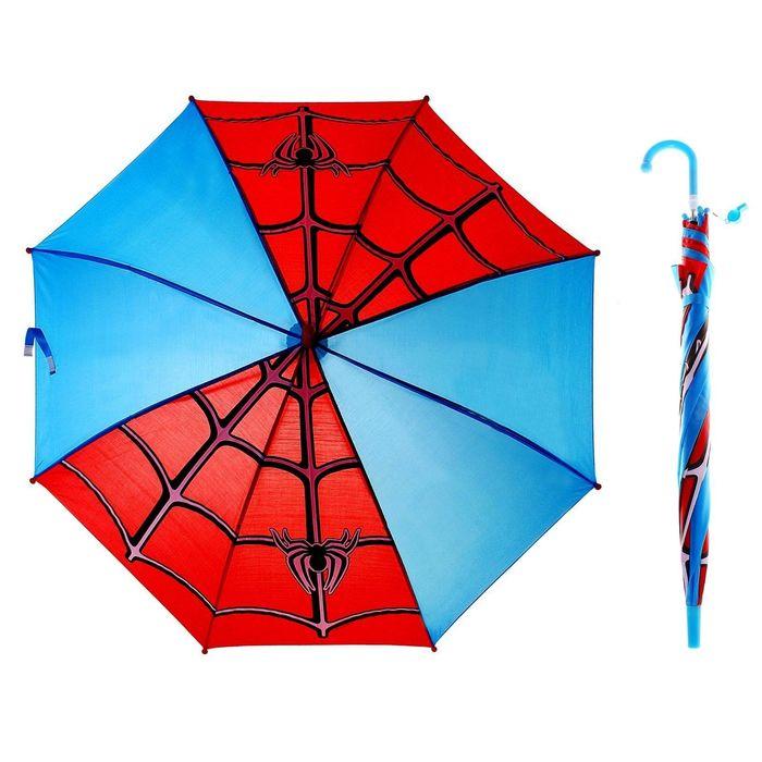 """Зонт детский """"Паутинка"""", полуавтоматический, со свистком, r=42,5см, цвет голубой/красный"""