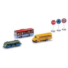 Набор общественного транспорта и дорожных знаков