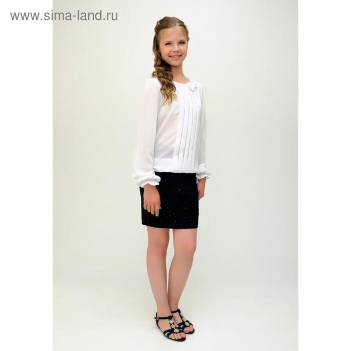 Блузка для девочки, рост 152 см, цвет белый 2В13-1