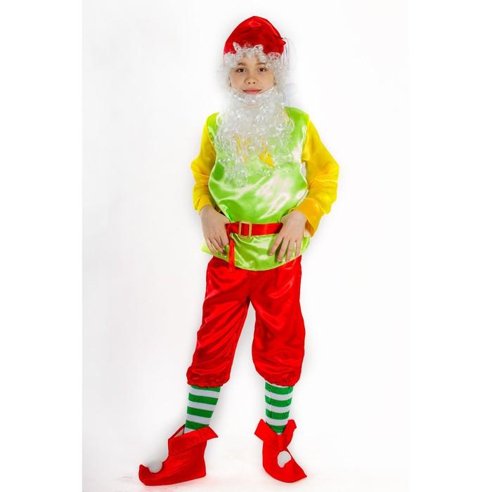 """Карнавальный костюм """"Гном"""", колпак, борода, рубашка, жилет, пояс, штаны, гетры, башмаки, рост 110 см"""