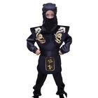 """Карнавальный костюм """"Ниндзя"""", черный, маска, рубашка, накидка, штаны, пояс, рост 110 см"""