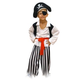 Карнавальный костюм «Пират», шляпа, повязка, рубашка, пояс, штаны, р. 28, рост 110 см