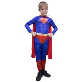 Карнавальный костюм «Супергерой 3D», комбинезон, плащ, р. 30, рост 116-122 см