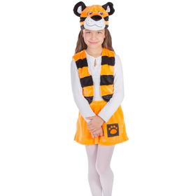 Карнавальный костюм «Тигрица», рост 122-128 см