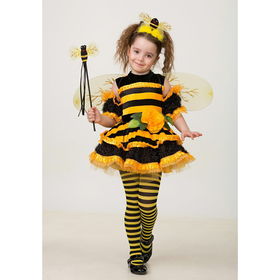 Карнавальный костюм «Пчёлка», велюр, размер 30, рост 116 см