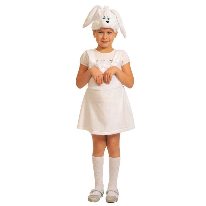 "Карнавальный костюм ""Заинька белая"" плюш, сарафан, маска, рост 92-122,  3006"
