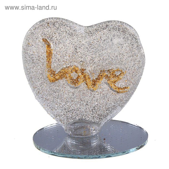 "Сувенир ""Люблю всем сердцем"" на зеркале"