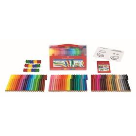 Фломастеры 60 цветов Faber-Castell Connector + 12 клипов для соединения, подарочная коробка