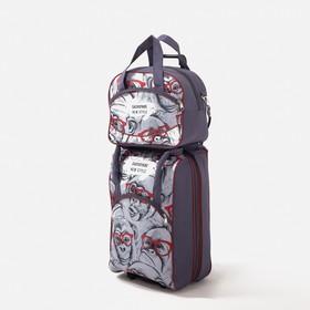 """Чемодан малый 20"""" с сумкой, отдел на молнии, наружный карман, с расширением, цвет серый"""