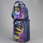 """Чемодан малый с сумкой """"Цветные тропики"""", отдел на молнии, наружный карман"""