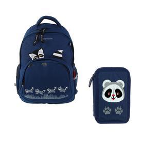 Рюкзак школьный Bruno Visconti, 40 х 30 х 16 см, эргономичная спинка, «Еноты», синий