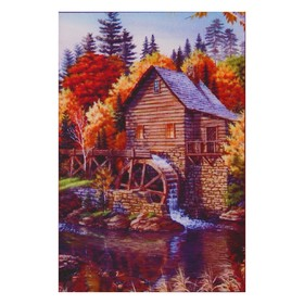Алмазная мозаика «Домик у реки», 31 цвет