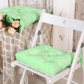 Набор подушек для стула 35х35 см 2шт, цв салатовый, бязь, холлофайбер