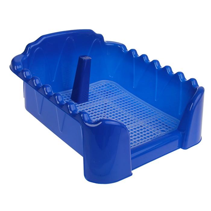 """Туалет """"Риф"""" со столбиком, для собак, 40 х 40 см, синий"""