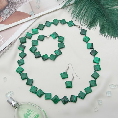 "The set of 3 items: earrings, necklace, bracelet ""malachite"" diamond wide"