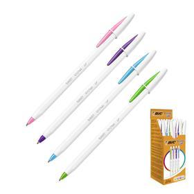 Ручка шариковая, голубой, салатовый, розовый, сиреневый, среднее письмо, BIC Cristal Up